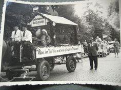 Festwagen Kleintierzuchtverein Bad Salzschlirf  Bad Salzschlirf, Anfang 1950er Jahre mit Otto Hendler, Emil Brähler und Herbert Otterbein