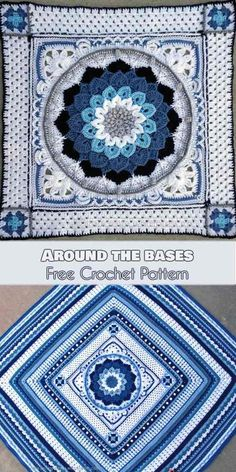 "Crochet Afghan Around the Bases [Free Crochet Pattern] Around-the-Bases blanket is a multi-stitch design that turns YOUR favourite center square into an afghan. It was originally released as a crochet along (CAL) with 16 ""innings"" or stitch components. Shawl Crochet, Crochet Afghans, Afghan Crochet Patterns, Crochet Motif, Crochet Stitches, Knitting Patterns, Crochet Blankets, Crochet Borders, Crochet Pillow"