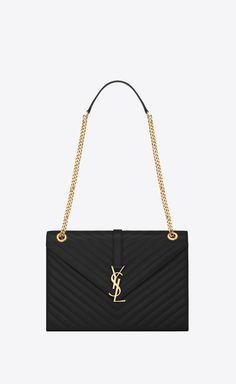 Saint Laurent Large Envelope Chain Bag In Black Textured Matelassé Leather | YSL.com