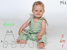 """**Schnittmuster Baby Overall Latzhose Strampler pdf** EBOOK-KEIN PAPIERSCHNITT!!  Baby Overall Modell """"Lotte"""" Variante A Overall ohne Mittelnaht und mit Träger zum knöpfen und Gummizug im..."""