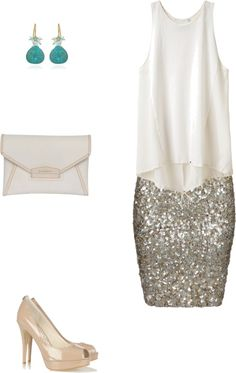 Sparkle AllSaints skirt, Givenchy clutch, nude/tan heels, white blouse + green earrings...