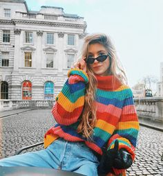 Multi-coloured chunky knit 🖤