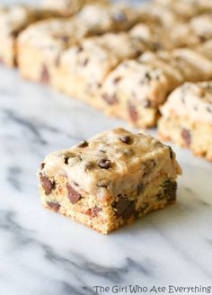 Chocolate Chip Cookie Dough² Bars - both the frosting and the bars start with the same dough so they are easy! {The Girl Who Ate Everything}