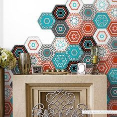 25Pcs Self Adhesive Bohemia Wall Decal Sticker Simulation Ceramic Tiles DIY Kitchen Bathroom is Solid-NewChic Mobile
