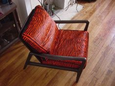 Midcentury modern chair reupholstered in orange zebra print. Modern Chairs, Midcentury Modern, Zebra Print, Accent Chairs, Upholstery, Mid Century, Orange, Furniture, Home Decor