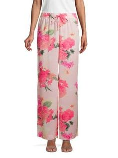 Calvin Klein Collection Floral-print Wide-leg Pants In Porcelain Rose Calvin Klein Collection, Wide Leg Pants, Floral Prints, Porcelain, Pajama Pants, Chic, Rose, Clothes, Shopping