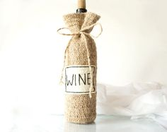 Personalized Rustic Wine Bottle Bag Cozy Natural Eco by Yanettine, $19.00