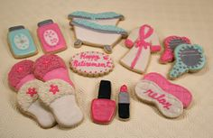Spa Cookies : Retirement, Mother's Day, Birthday cookies for a special friend. just add Wine & Chocolate! Spa Cookies, Mother's Day Cookies, Cupcake Cookies, Birthday Cookies, Cupcakes, Pamper Party, Spa Party, Polish Cookies, Spa Cake