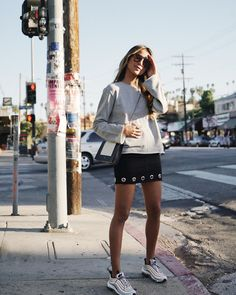 "JULIE SARIÑANA (@sincerelyjules) on Instagram: ""Blocking the sun on Sunset Blvd. ☀️ • rocking our new Vera sweatshirt. • link in bio Shopsincerelyjules.com @shop_sincerelyjules"""