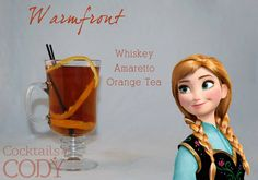 Disney-themed Cocktails by Cody - Warmfront (Anna / Frozen).  Description from his Facebook: A drink that's warm, energetic, and full of heart, it's the appropriately named 'Warmfront' opposite Elsa's 'Coldfront'. I saw Anna as being the adventurous, spunky, and unfiltered whiskey type. So I took inspiration from her hair color, and came up with using orange spice tea. It's a wonderful combination with the whiskey, and hints of almond from the amaretto.
