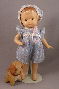 "13"" Effanbee Brown Eyed Patsy Pat. Pend. All Composition Doll + Dog"