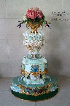 A wedding cake inspired by the lavish 17th century baroque...