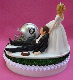 Wedding Cake Topper Oakland Raiders Football Themed by WedSet, $59.99