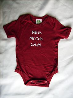 Baby clothing ,baby gift- for new baby -very cute ,Bamboo ,Onesie, 8.5 oz made in Canada, humour- hand printed. $23.95, via Etsy.