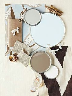 """VALSPAR PAINTS ... Nice color scheme forca """"Beachy & Spa-Like"""" look. From BETTER HOMES & GARDENS"""