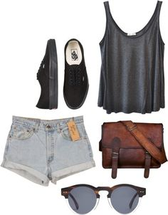 Gray tank, light denim cuffed high-waisted shorts, black vans