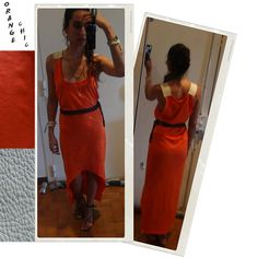 DIY long dress with leather