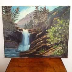 vintage painting - waterfall landscape, acrylic on canvas, signed, by forrestinavintage on Etsy Waterfall Paintings, Vintage Art, Weaving, Arts And Crafts, Landscape, The Originals, Canvas, Prints, Projects