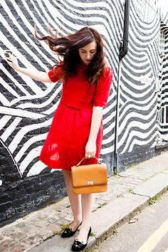 Latitcia of Mademoiselle Robot in a ruffled red... | ModCloth on Tumblr