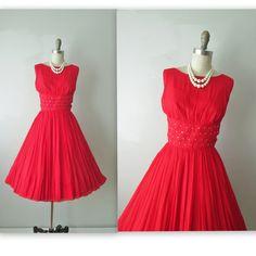 50's Chiffon Dress //  Vintage 1960's Red Chiffon Rhinestone Cocktail Party Holiday Dress on Etsy, $124.00
