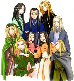 Male Elves in Middle-earth.   From the top, left-to-right:  Erestor-Elrond-Glorfindel-Thranduil-Celeborn-Legolas-Elladan-Elrohir-and Haldir