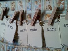 100 Mason Jar tags wish cards parenting advice rustic vintage baby shower via Etsy