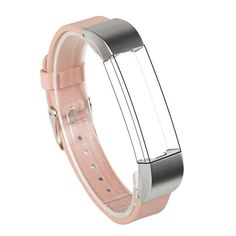 Wearlizer Replacement Leather Wristband with Metal Buckle for Fitbit Alta  Pink >>> Click image to review more details. (Note:Amazon affiliate link)