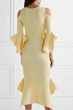 Roland Mouret - Corely Cold-shoulder Ribbed-knit Midi Dress - Pastel yellow - medium