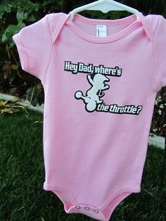 Moto Baby girl/Wheres the throttle pink onezie by ZLTkidz on Etsy, $14.99