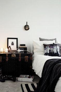 Black + white bedroom. Trunk as nightstand