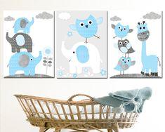 Baby Boy Wall Decor, Blue Grey Giraffe Elephant Decor Owls Wall Art Boy Canvas Nursery Print Baby Boy Wall Art Nursery Wall Decor set of 3