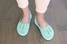 """Fun! Cotton yarn and a rubber sole make this free crochet slippers with flip flop soles pattern perfect for wearing around the house (or even outside as shoes!) Free crochet pattern and video tutorial using Lion Brand 24/7 Cotton in """"Mint""""!"""