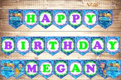 Bubble Guppies Happy Birthday Banner  Personalized  by VSstudio