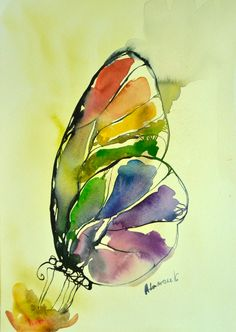 Rainbow Butterfly watercolor painting, original artwork. Aquarelle art. Unique birthday present, water colour sketch. Watercolour picture. This is an original expressive, colorful, abstract watercolor painting of a butterfly. A unique gift for birthday, for a friend. Drawing, watercolour wall decor for home. Contemporary art. Water colour picture. Aquarelle. Unusual gift. It is painted by me on St Cuthbers Mill Watercolor 260 g/m2 fine art paper. Dated and signed by me, without frame. Pai...