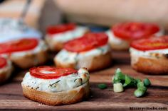 Grilled Crostini with Garlic Scape Cream Cheese and Tomatoes | kissmysmoke.com | Simple, quick and delicious.