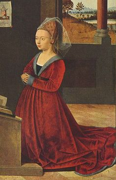 Petrus Christus -- Fur-trimmed Burgundian gown of mid-15th century has a V-neck that displays the black kirtle and a band of the chemise. Hair is pulled back in an embroidered hennin and covered by a short veil.