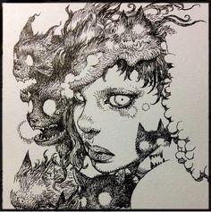 Terada Katsuya added a new photo. Art And Illustration, Ink Illustrations, Kunst Inspo, Art Inspo, Comic Kunst, Comic Art, Fantasy Kunst, Fantasy Art, Anime Kunst