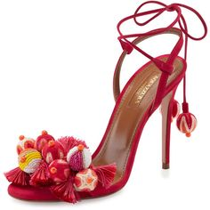 Tropicana Tassel Sandal, Pink by Aquazzura at Bergdorf Goodman. Ankle Wrap Sandals, Suede Sandals, Suede Shoes, Shoe Boots, Shoes Sandals, Women Sandals, Open Toe Shoes, Open Toe Sandals, Stilettos
