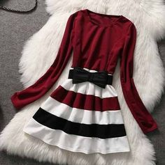 long sleeve and stripes one-piece dress - Women Dresses for Every Age! Dresses For Teens, Casual Dresses, Short Dresses, Fashion Dresses, Cute Fashion, Girl Fashion, Fashion Design, Fashion 2014, One Piece Dress
