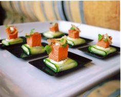 Smoked Sockeye Salmon over Cucumber Purse with Chevre, Capers, Dill & Shallots by Chef David Buchanan