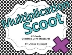 Get your students moving around the classroom and talking about math! Practice or review multiplication in a fun way by using these cards to play Scoot or for a classroom Scavenger Hunt. These cards are aligned to the 3rd grade common core standards for multiplication.