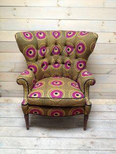 Mid Century Fanback Armchair Upholstered in Olive von chezboheme, $1250.00