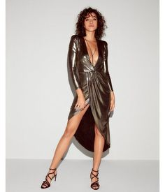 Release Your Inner Glam Goddess With This Stunning Maxi Dress. Sparkling Metallic Fabric Gets You Center-Of-Attention Status, While Hot Details Like A Deep V-Neck And Asymmetrical Hem Make It Supremely Sexy. Man Repeller Editor Pick.. Womens Dresses