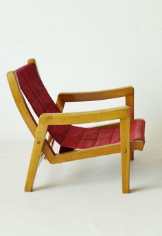 Hein Stolle; Beech and Canvas Lounge Chair, 1950s.