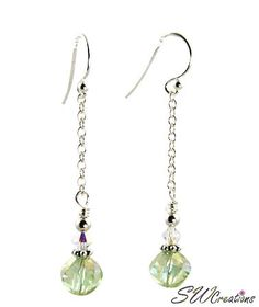 Elegant handcrafted 2 inch green handmade beaded earrings crystal drops with crystal AB Swarovski Austrian crystals, light green iridescent faceted Czech crystal 8mm glass beads, sterling silver chain