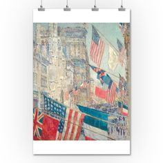 Allies Day, May 1917 (Artist: Childe Hassam) c. 1917 - Masterpiece Classic (36x54 Giclee Gallery Print, Wall Decor Travel Poster), Women's, Size: 36 x 54 Giclee Print, Multi