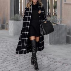 Women Winter Hooded Loose Classic Plaid Overcoat With Belt Fashion Long Blend Coat Autumn Long Sleeve Jacket Coat Streetwear Mode Outfits, Stylish Outfits, Girl Outfits, Fashion Outfits, Fashion Top, Cheap Fashion, Affordable Fashion, Stylish Dresses, Fashion Boots