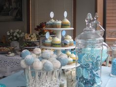My Daughter-in-law's baby boy blue shower decor and goodies.