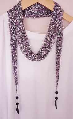 Ravelry: ribbon ladder long skinny SCARF pattern by Alison Hogg Knit Or Crochet, Crochet Scarves, Crochet Shawl, Yarn Necklace, Knitted Necklace, Necklaces, Ribbon Yarn, Skinny Scarves, Long Scarf