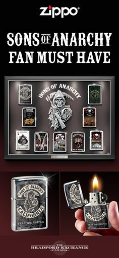 Anarchy has arrived and it's yours to embrace! Satisfy all of your passions for the exciting TV show Sons of Anarchy with this unique Zippo lighter collection. Limited to only 9,000 complete collections, it features 9 different #200 genuine Zippo windproof lighters with distinctive SAMCRO symbols and a custom display case with a Reaper centerpiece.